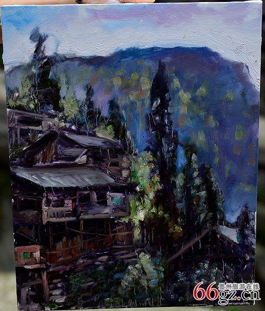 苗寨油画画风景