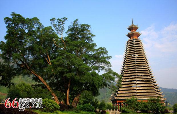 最高木质结构鼓楼—从江鼓楼